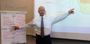 Dr. Merlin Switzer providing business consulting on strategic foresight with flipchart and whiteboard.